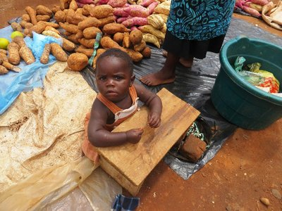 This little one cried the next moment because a muzungu took his photo, Mzuzu market, Malawi