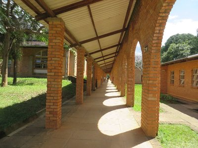 A campus walkway in the University of Livingstonia, Malawi