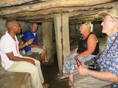 Inside a restored slave holding room in the slave market, Stone Town, Zanzibar