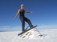 surfing on the salt flats