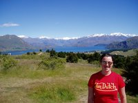 Sarah and the view from Mt Iron, Wanaka
