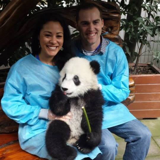 Holding Baby Panda in Chengdu, China