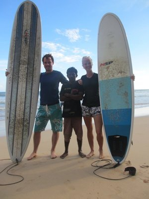With our surfing teacher