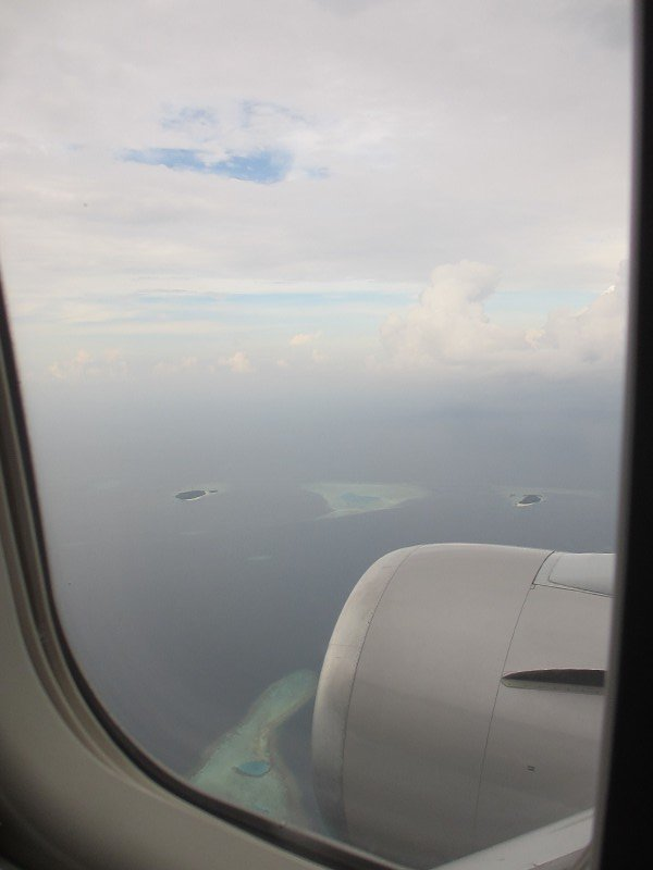 Maldivian atols from the plain window