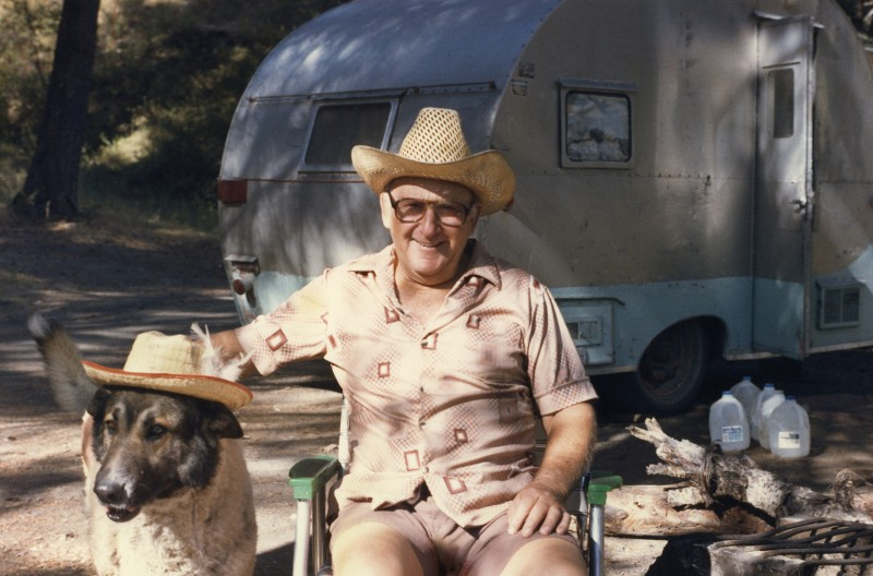 """Leroy and his dog, Bill, """"the only dog that'll wear a hat."""""""