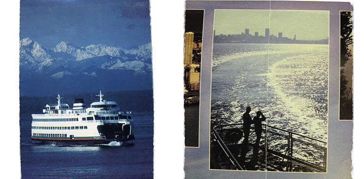 Brochure photos from the ferry that took Old Blue and me from Seattle, across Puget Sound, to the Olympic Penninsula