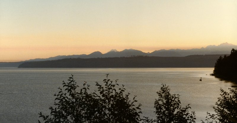 Sunset, Olympic Mountains seen from Lake Crescent, Washington