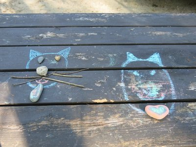 Chalk cats at Wompatuck State Park