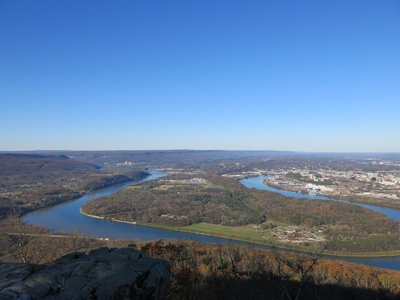 View from Point Park of Chattanooga, Tennessee river, and Moccasin Bend
