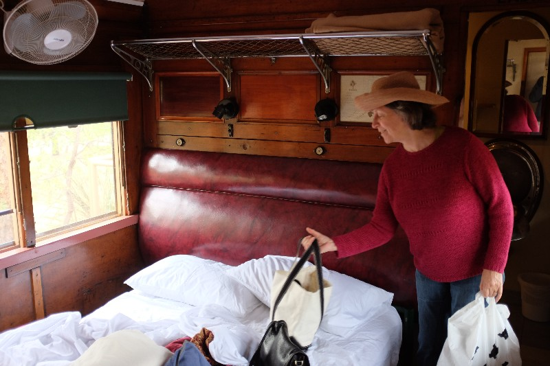 Leaving our railway carriage accommodation