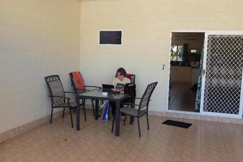 Balmy outdoor office at Gone Fishin' Motel - without Tree Snake