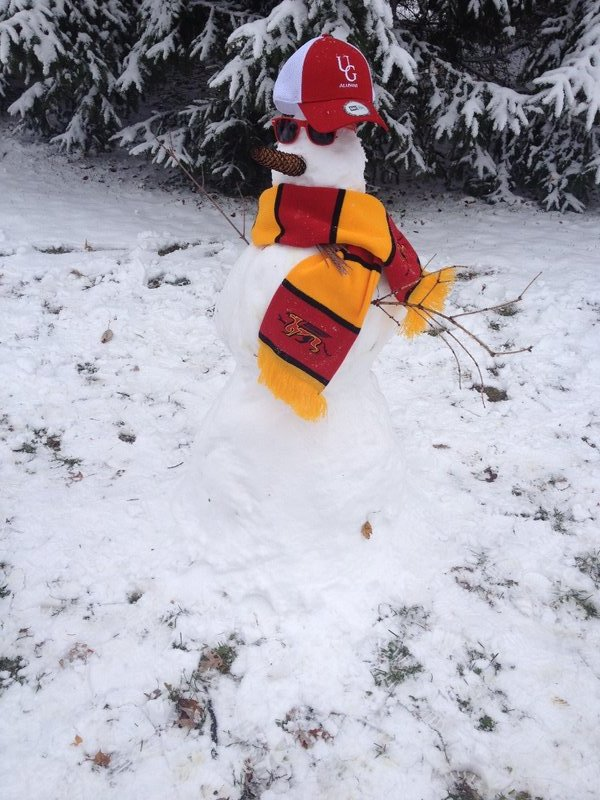 Our snowman decked out in Uni of Guelph colours