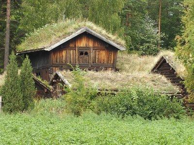 Häuser im Norwegischen Volksmuseum