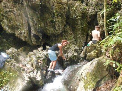Climbing to enter Tham Nam Thalu caves