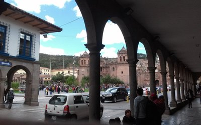 one of the cathedrals in the central plaza. Built on top of ancient Inca temple