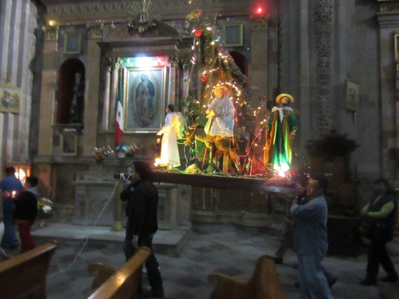 Inside the church at Posada