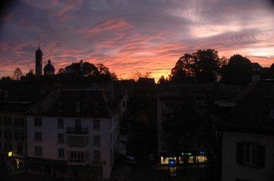 """Zurich - at dawn showing """"Montmartre de Zurich"""" (""""Enge"""")"""