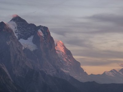 Eiger Nordwand in glow of sunset