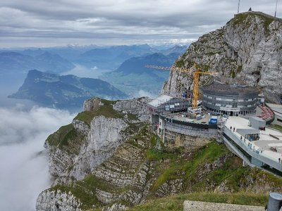 mt pilatus looking down at hotel