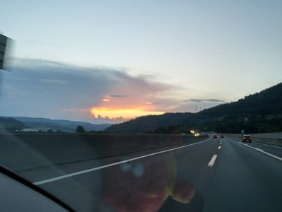 swiss sunset at 75mph