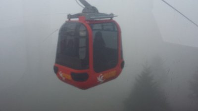 Gondola ride into the clouds
