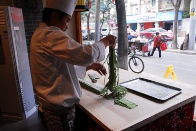 Making our spinach noodles, Xian