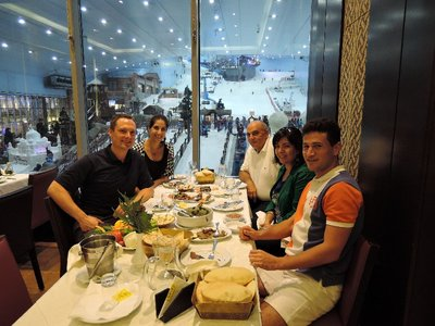 dinner at Karam Beyrut with the indoor skiing in the background
