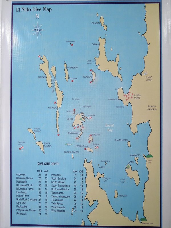 map of the diving sites in Bacuit Bay