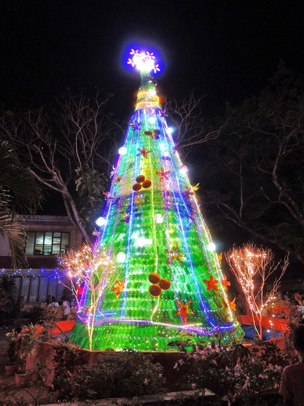 Christmas tree El Nido style (made out of recycled green plastic bottles)