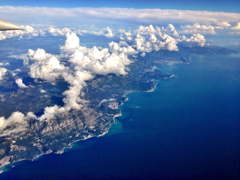 view from airplane leaving Montenegro