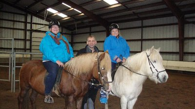 Johann was very patient with us and so were the horses. Lorri is on Lisa and I am on Tanya.