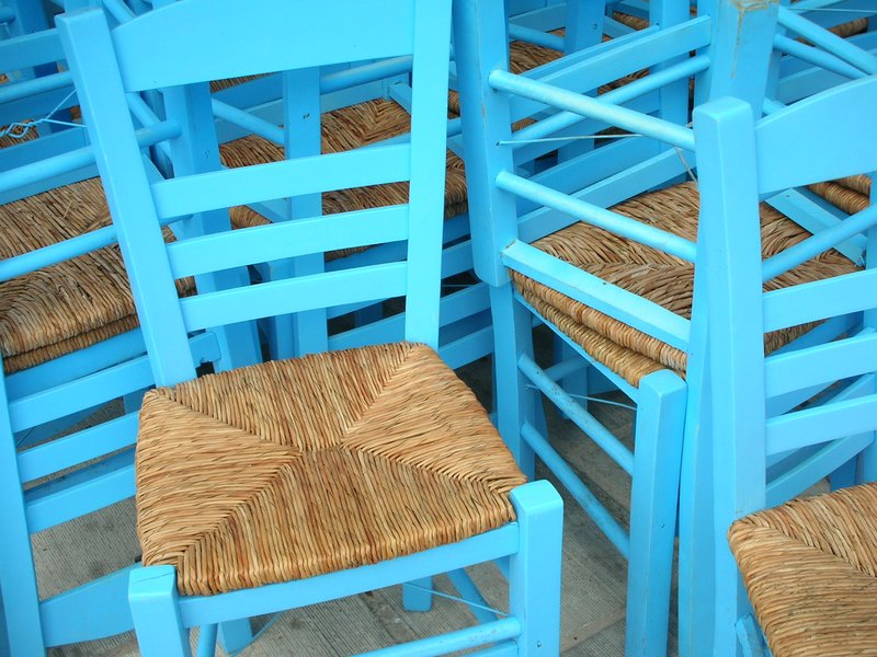 blue chairs