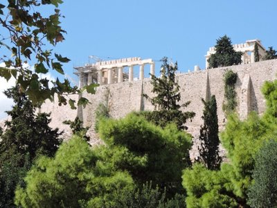 Acropolis from museum in Greece