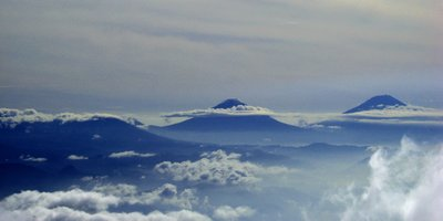 mount merapi and merbabu, side by side