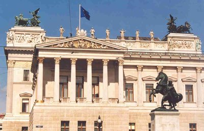 The Austrian Parliament Building in Vienna Austria