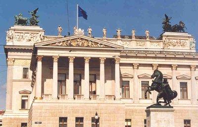 The Austrian Parliament Building in Vienna Austria