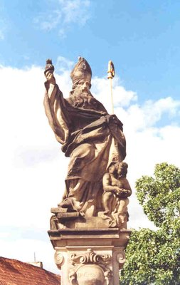 A statue of a bishop on Charles Bridge, Prague