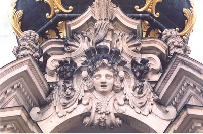 Close up of Crown Gate Tower, Zwinger Palace