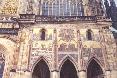 View of mural on St Vitus's Cathedral, Prague