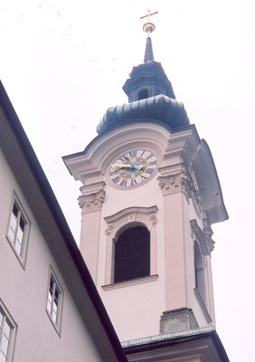 St Sebastian Church belltower in Salzburg Austria