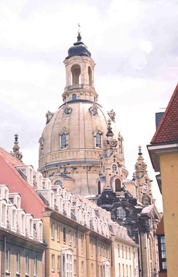 View of Frauenkirche&#39;s dome in Dresden