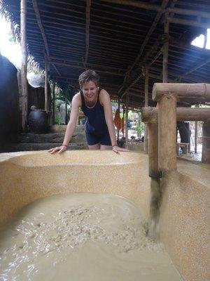Filling the mud bath