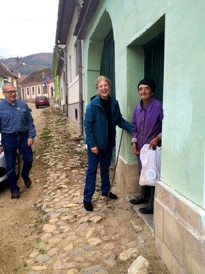 Diana & Mike Henderson doing Food Distribution in Fanteneli, Sibiu County, Romania.