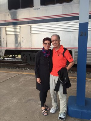 My amazing Eddie Bauer travel dress & my amazing husband.