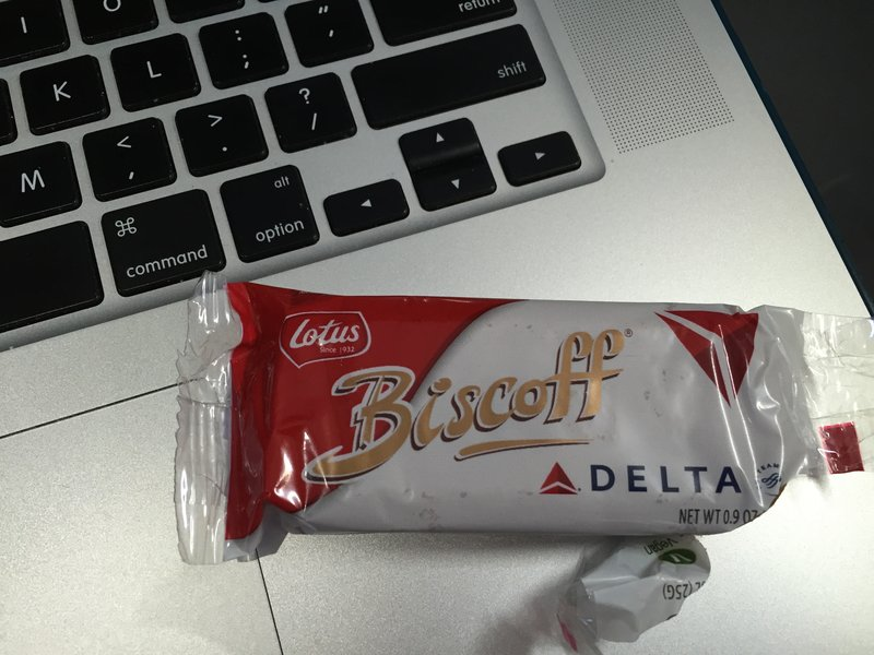 Delta still serves Biscoff -- YUMMY British whole-wheat shortbread (similar to but far more delicious than graham crackers.)