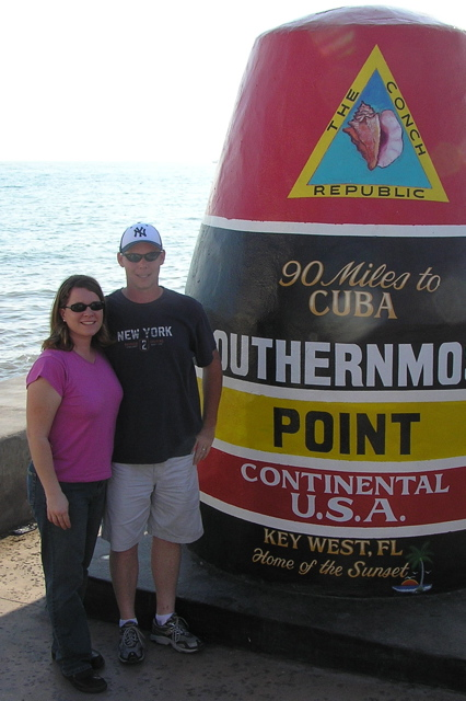 Tia and Dean in 2006 at the Southern Most point in the continental USA = Key West Florida