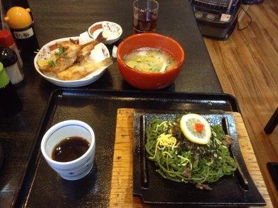 Kawara soba with Fugu Karaage and Fugu-jiru
