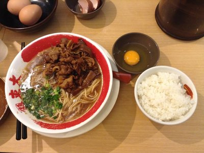 Amazing Tokushima ramen and rice (egg on the side instead of in the ramen)
