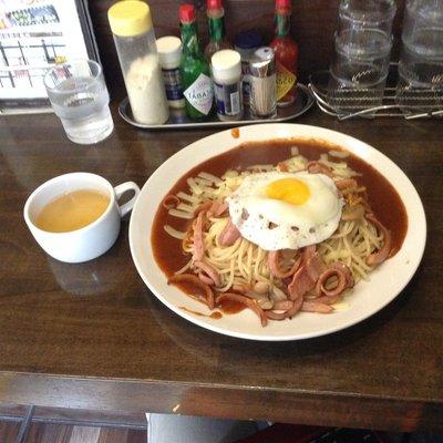 Ankake Spaghetti at a shop called Ankake Taro near Sakae, Nagoya.  I ordered the Milanese style with egg and cheese as toppings.