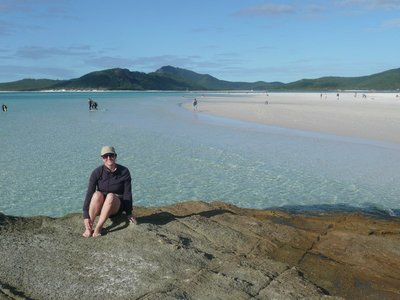 Deb at Whitehaven Beach